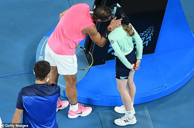 Rafael Nadal apologised to the ball girl he hit with a return, kissing her on the cheek