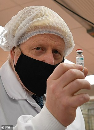 Boris Johnson (pictured at a vaccine factory yesterday) has a secret report on the economic hit caused by Covid - but the secret report hasn't been released.