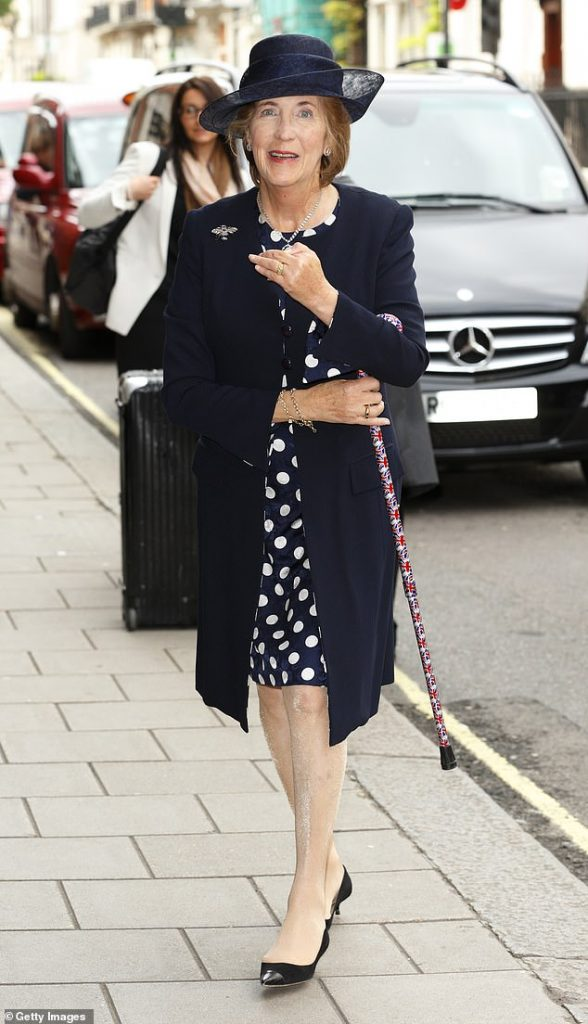 Prince Harry's godmother Lady Celia Vestey has died at the age of 71. Pictured,arrives at Claridges Hotel to attend the wedding reception for Alexander Fellowes and Alexanra Finlay following their wedding ceremony at the Chapel of St Mary Undercroft in the Palace of Westminster on September 20, 2013 in London,