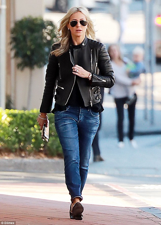 She's a Rox-star! Roxy Jacenko showed off her inner rock chick on Tuesday as she stepped out  wearing a leather jacket