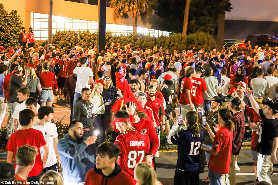 Hundreds of Bucs fans descended on Tampa on Sunday night to celebrate their Super Bowl win